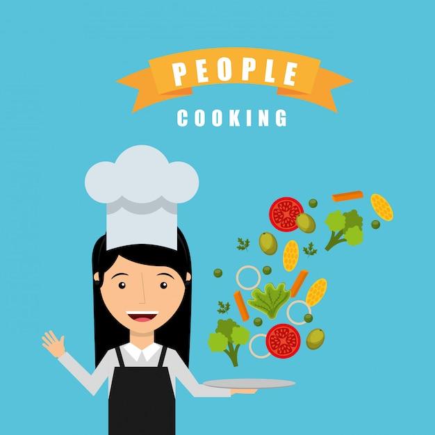 Pessoas cozinhando design Vetor grátis
