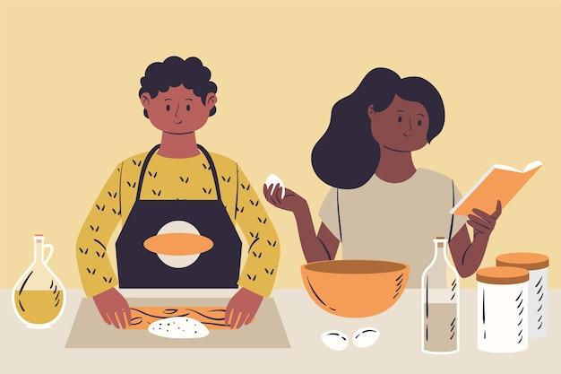 Pessoas cozinhando ilustração Vetor grátis