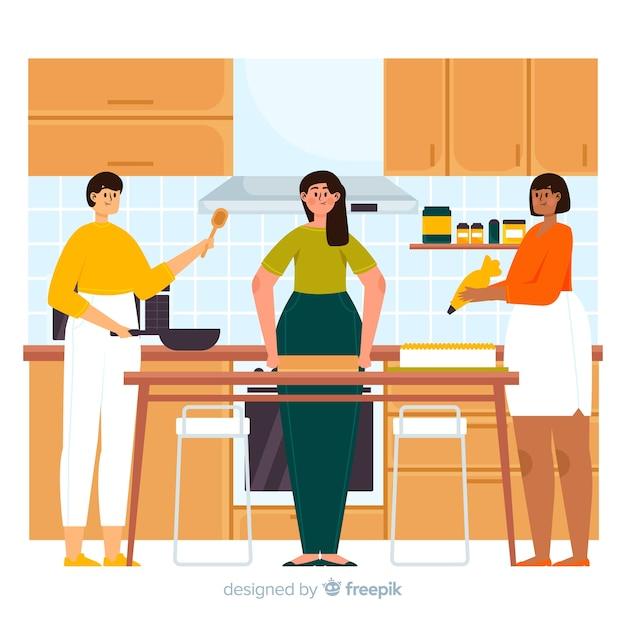 Pessoas cozinhando na cozinha Vetor grátis