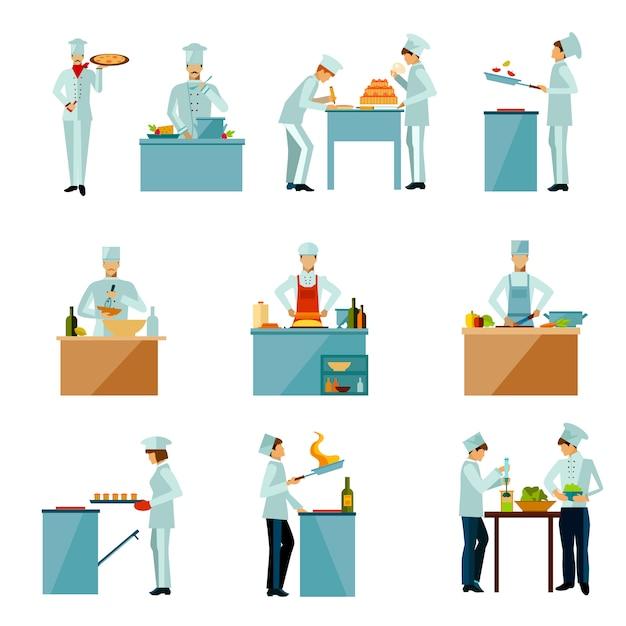 Pessoas cozinhar conjunto Vetor grátis