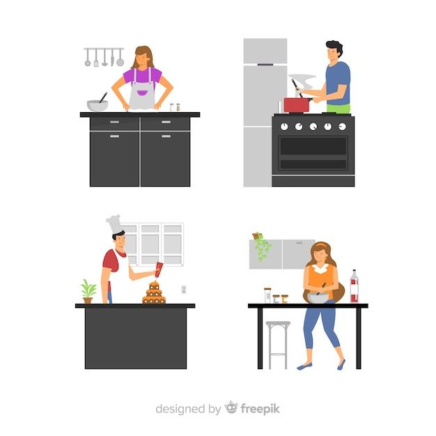Pessoas, cozinhar, em, a, cozinha, cobrança Vetor grátis