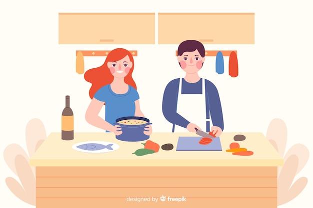 Pessoas, cozinhar Vetor grátis