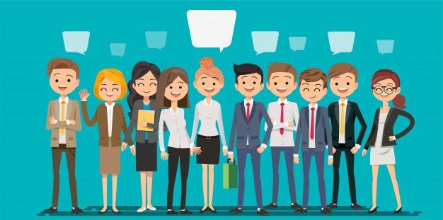 Pessoas criando negócios em estilo cartoon Vetor Premium