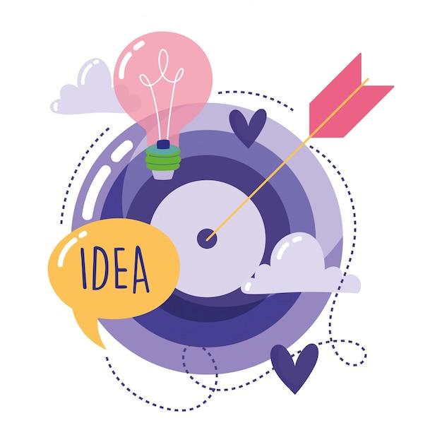 Pessoas criatividade tecnologia, alvo seta bulbo idéia dos desenhos animados Vetor Premium