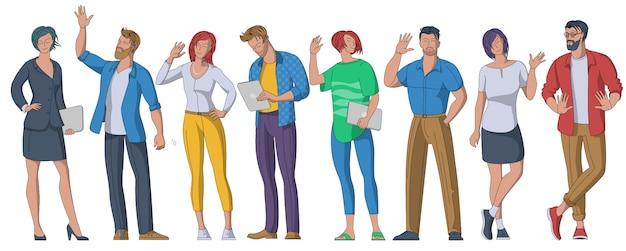 Pessoas cumprimentando conjunto de ilustrações planas de gestos Vetor Premium