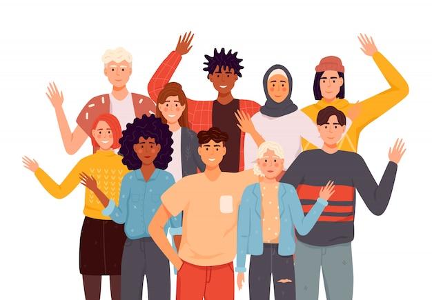 Pessoas cumprimentando o conjunto de ilustrações plana de gesto. representantes de diferentes nações, acenando com a mão. homens, mulheres em roupas casuais dizem olá. Vetor Premium