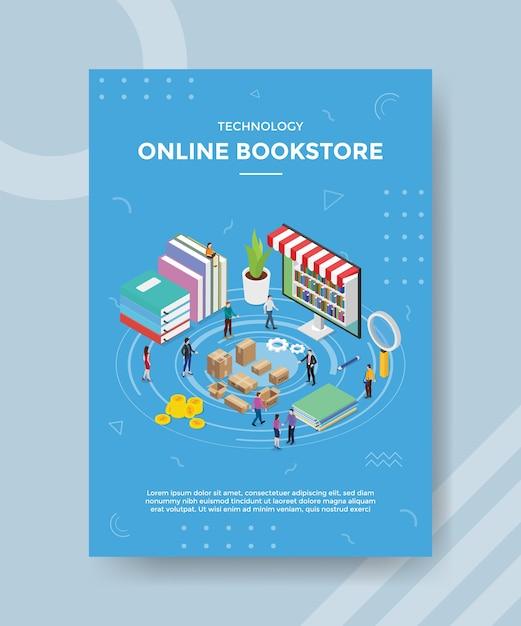 Pessoas da livraria on-line de tecnologia em pé perto do laptop do livro para modelo de banner e folheto Vetor grátis