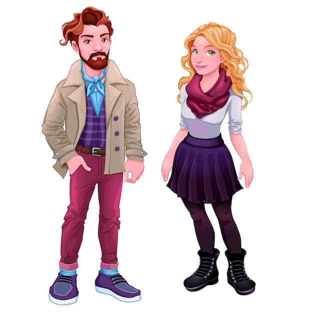Pessoas da moda jovens personagens desenhos animados do vetor isolados Vetor grátis
