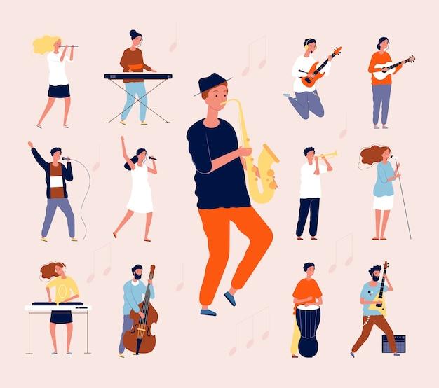 Pessoas da música. músicos de rock clássico musical cantando e tocando instrumentos de orquestra, guitarra, tambor, violino, apartamento. concerto de ilustração musical, músico com instrumento de guitarra Vetor Premium