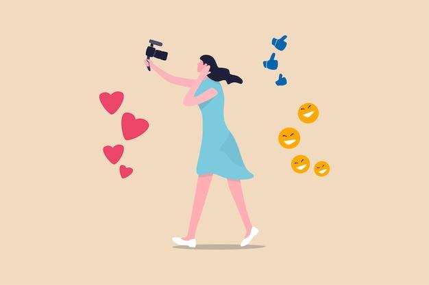 Pessoas da nova era digital do blogger, vlog, influenciador transmitem ou gravam seu estilo de vida para promover a história no conceito de mídia social, linda jovem segurando a câmera com amor, gosto e sinal feliz Vetor Premium