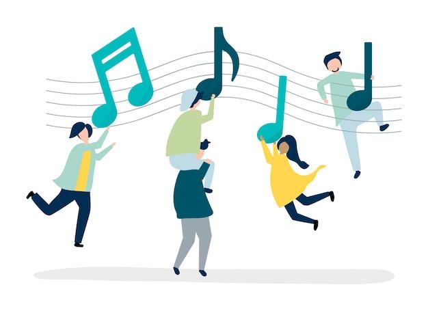 Pessoas dançando ao som da música Vetor grátis