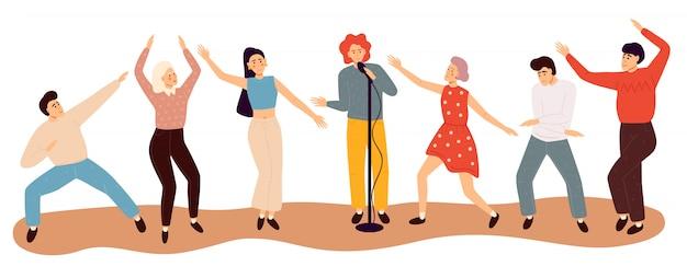 Pessoas dançando felizes. ilustração plana colorida. Vetor Premium