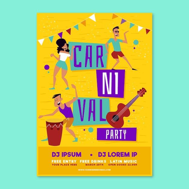 Pessoas dançando mão desenhada carnaval festa flyer Vetor grátis