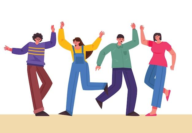 Pessoas dando tema cinco alta para ilustração Vetor grátis