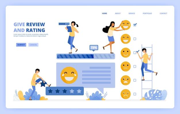 Pessoas dão ilustração da pesquisa de feedback Vetor Premium