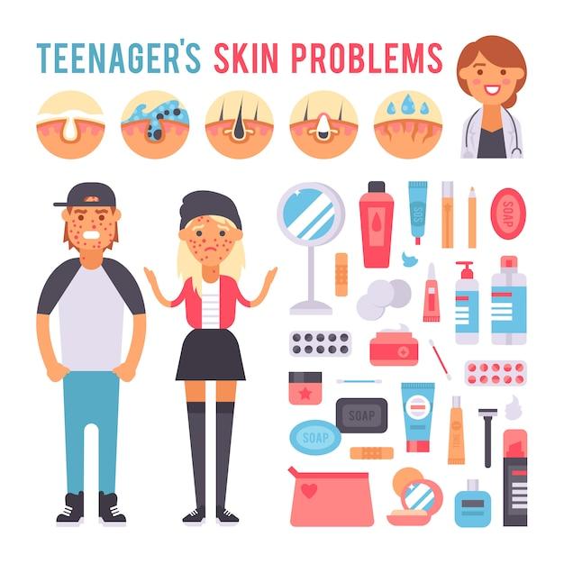 Pessoas de adolescente de cuidado facial defeituam problemas de pele Vetor Premium