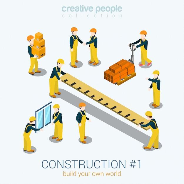 Pessoas de construtores de construção conjunto ilustração isométrica janela amarela uniforme construção construtor trabalhador pessoal caixa de régua Vetor grátis