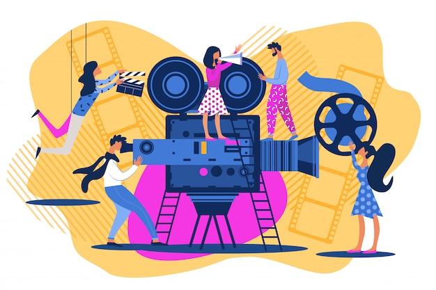 Pessoas de desenho animado no set de filme Vetor Premium