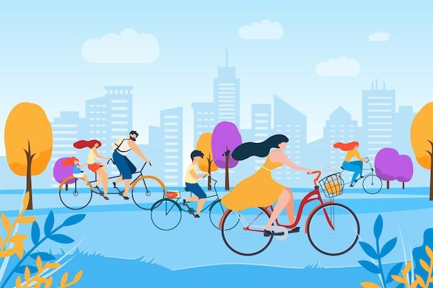 Pessoas de desenhos animados, andar de bicicleta no parque Vetor Premium
