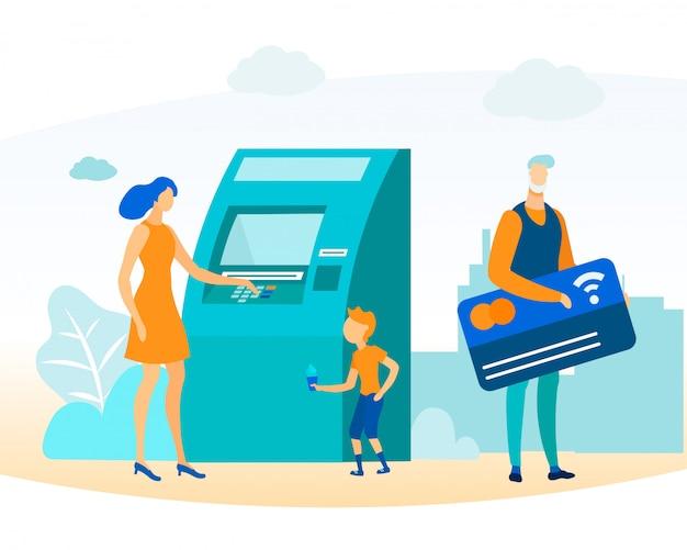 Pessoas de desenhos animados e transação de dinheiro Vetor Premium