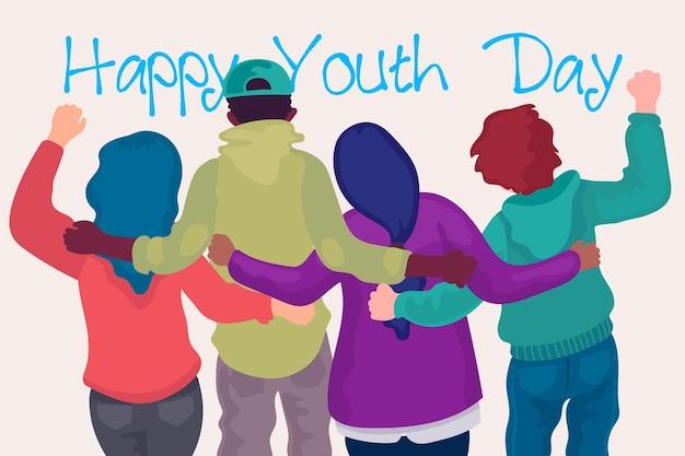 Pessoas de dia da juventude design plano abraçando juntos Vetor grátis