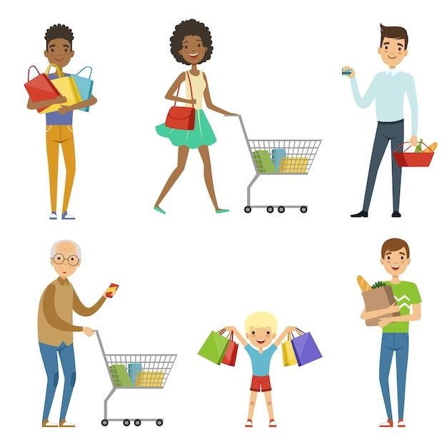 Pessoas de diferentes idades fazem compras. Vetor Premium