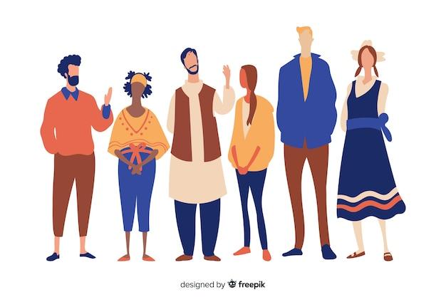 Pessoas de diferentes raças e culturas Vetor Premium