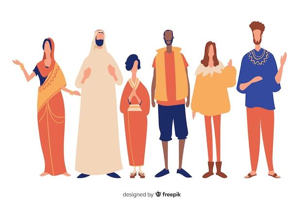 Pessoas de diferentes raças e culturas Vetor grátis