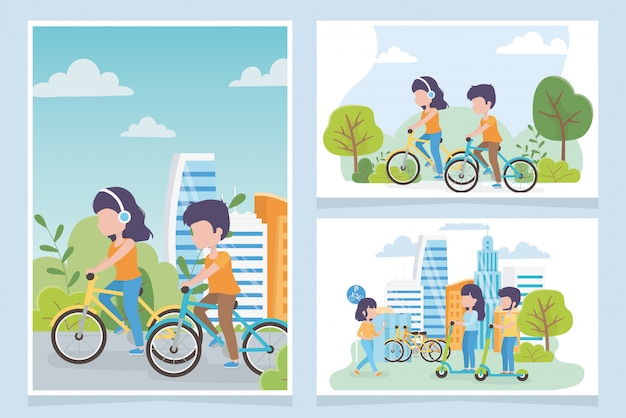 Pessoas de ecologia urbana ciclistas e scooters elétricos transportam a cidade Vetor Premium