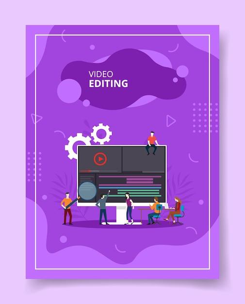 Pessoas de edição de vídeo coworking no computador, pôster. Vetor Premium