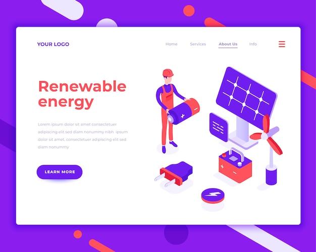 Pessoas de energia renovável e interagir com o painel solar Vetor Premium