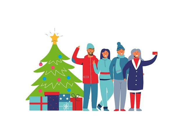 Pessoas de férias de inverno com árvore de natal. personagens felizes, tirando selfie com smartphone. homem dos desenhos animados e mulher comemorando o ano novo. Vetor Premium