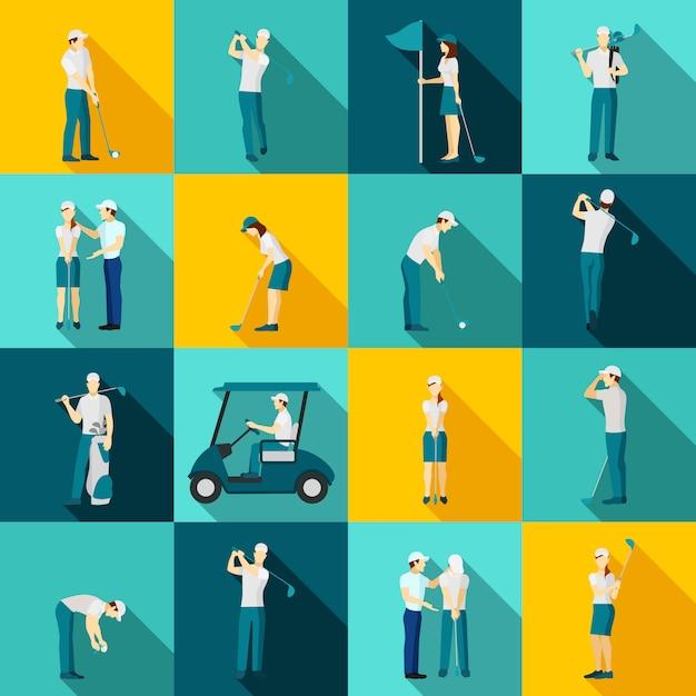 Pessoas de golfe planas Vetor grátis