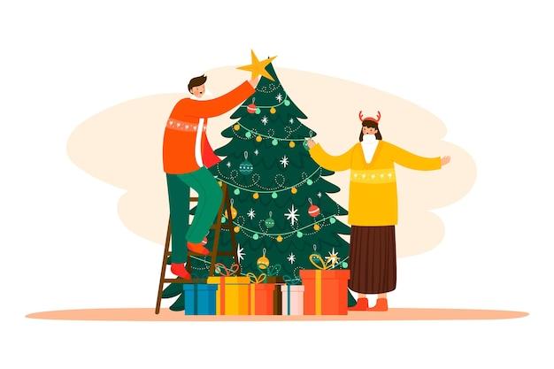 Pessoas de ilustração decorando a árvore de natal Vetor grátis