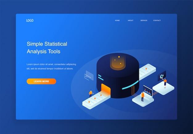 Pessoas de ilustração isométrica 3d interagindo com o gráfico de pizza, análise de dados, página de destino Vetor Premium