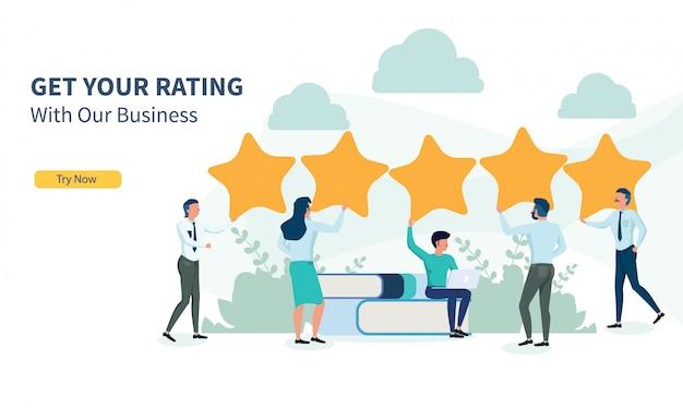 Pessoas de negócios à procura de classificação com design plano e landing page Vetor Premium