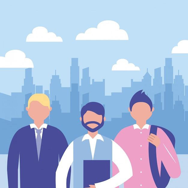 Pessoas de negócios ao ar livre Vetor grátis
