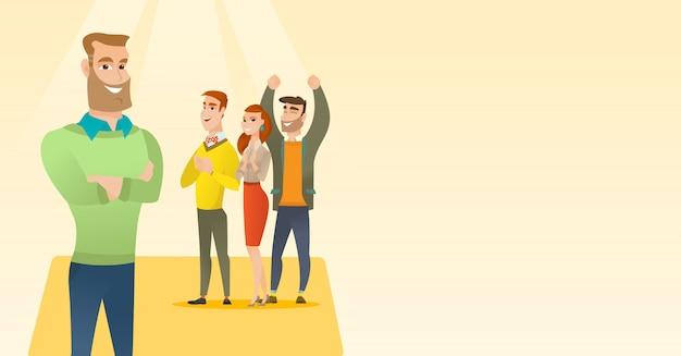 Pessoas de negócios aplaudindo na conferência. Vetor Premium