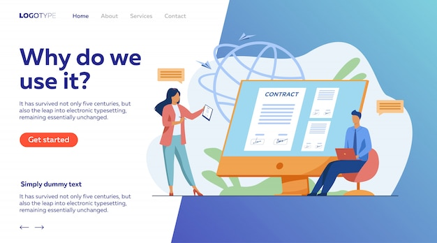 Pessoas de negócios, assinando contrato on-line com sinal eletrônico Vetor grátis