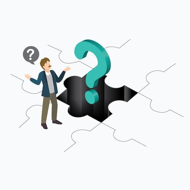 Pessoas de negócios com ponto de interrogação Vetor Premium