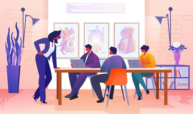 Pessoas de negócios, comunicando-se no escritório moderno. Vetor Premium