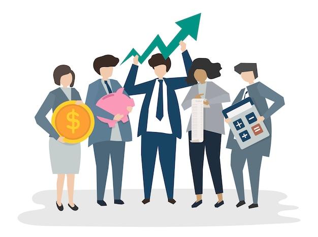 Pessoas de negócios corporativos ilustradas Vetor grátis