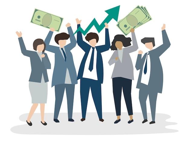 Pessoas de negócios corporativos ilustrados Vetor grátis