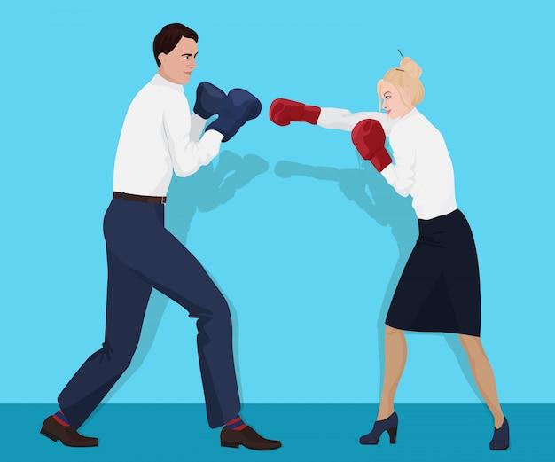 Pessoas de negócios de escritório boxe Vetor Premium
