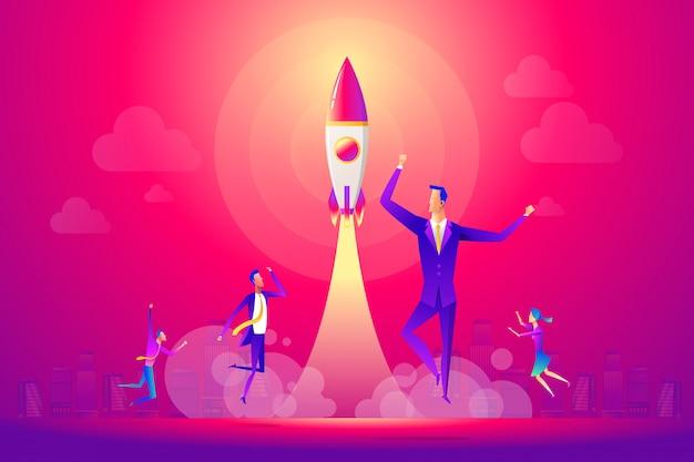 Pessoas de negócios e equipe comemorando um arranque bem sucedido Vetor Premium