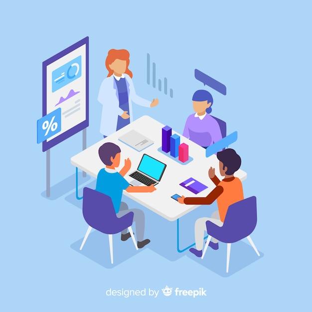 Pessoas de negócios em uma reunião isométrica Vetor grátis