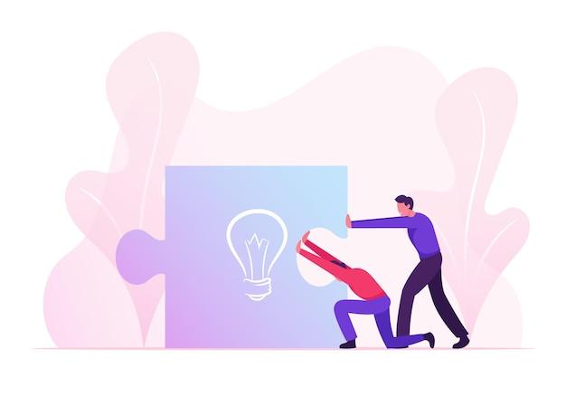 Pessoas de negócios, empurrando juntos uma enorme peça de quebra-cabeça com placa de lâmpada. ilustração plana dos desenhos animados Vetor Premium