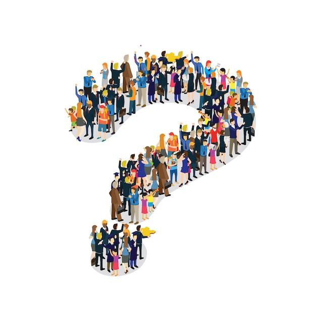 Pessoas de negócios fazem sinal de interrogação Vetor Premium