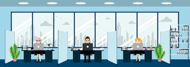 Pessoas de negócios, interior de escritório moderno com chefe e funcionários. espaço de trabalho do escritório criativo e estilo de personagem de desenho animado. Vetor Premium