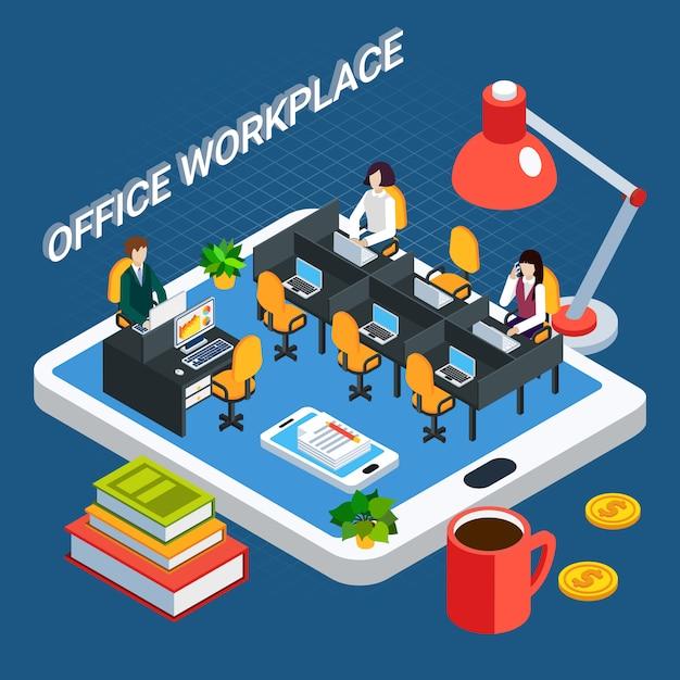 Pessoas de negócios isométrica com móveis de sala de escritório e funcionários em cima de ilustração em vetor tela tablet Vetor grátis